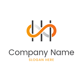 Simple Yellow Infinity logo design