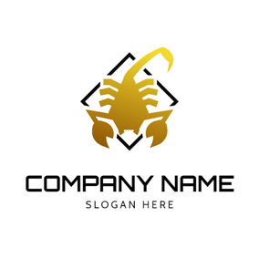Simple Yellow Scorpion Icon logo design