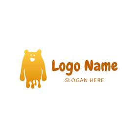 Simple Yellow Slime Monster logo design