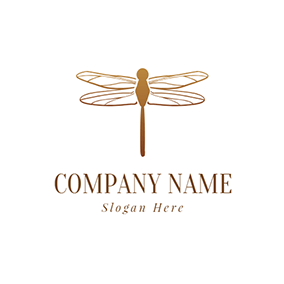 Single Brown Dragonfly logo design