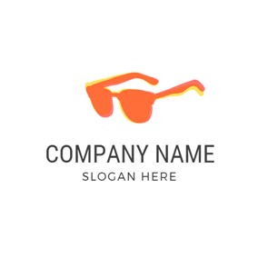 Single Orange Sunglasses Outline logo design