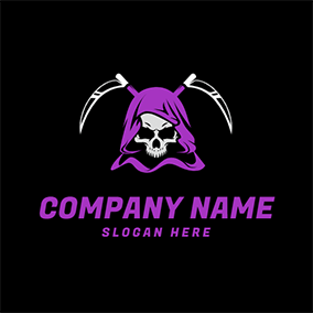 Skeleton Purple Cloak Reaper logo design