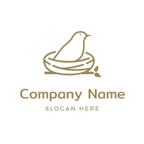 Sketch Bird and Bird Nest logo design
