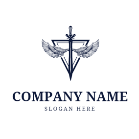 Sketch Wing and Sword logo design
