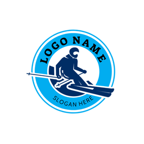 Skier and Ski Icon logo design