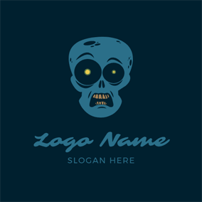 Skull Head and Zombie logo design