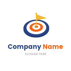 Small Flag and Simple Target logo design
