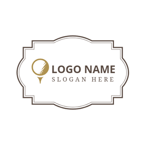 Small White Golf Badge logo design
