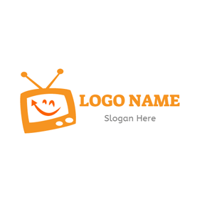 Smile Face and Orange Tv logo design