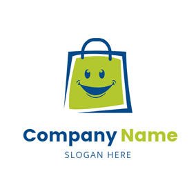 Smiling Face and Blue Bag logo design