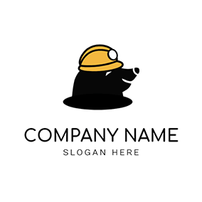 Smiling Mole and Yellow Helmet logo design