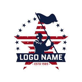 Soldier and Flag logo design