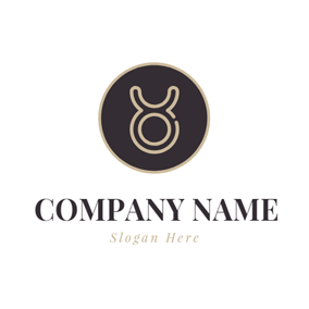 Solid Color Circle and Hollow Taurus Sign logo design