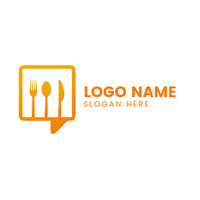 Speech Bubble Cutlery logo design