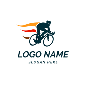 Speed Bicycle Rider and Bike logo design