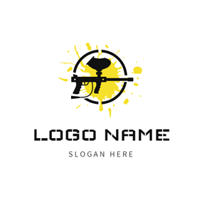 Splash Paint and Paintball Gun logo design