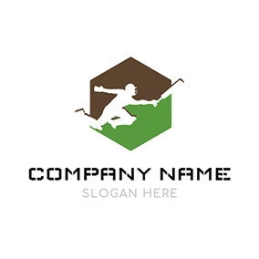 Sportsman and Cricket Bat logo design