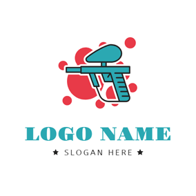 Spray Paint and Paintball Gun logo design
