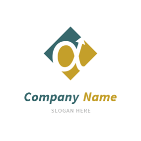 Square and Alpha Symbol logo design