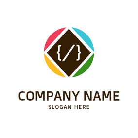 Square and Code Symbol logo design