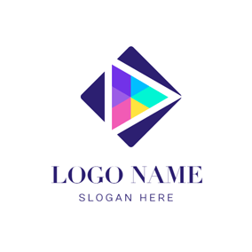 Square and Colorful Play Button logo design