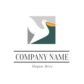 Square and Fly Pelican logo design