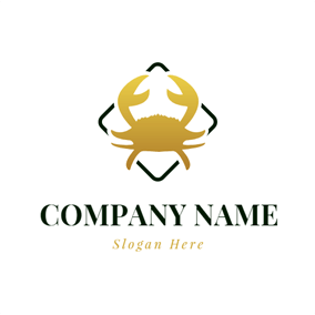 Square and Gradient Golden Crab logo design