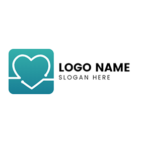 Square and Heart Pulse logo design