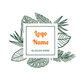 Square and Tropical Leaves logo design