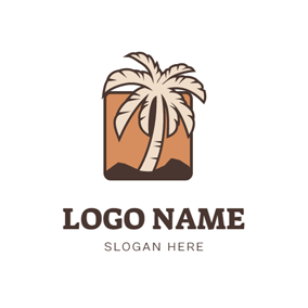 Square Background and Palm Tree logo design
