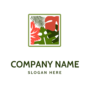 Square Frame Leaves Jungle logo design