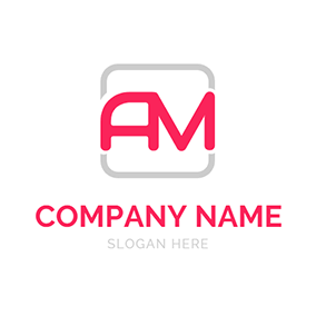Square Simple Abstract Letter A M logo design