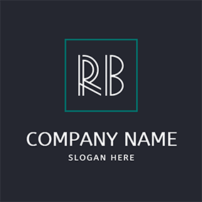 Square Simple Letter R B logo design
