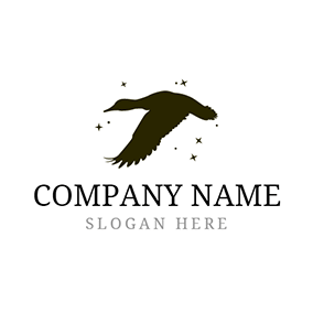 Star and Flying Duck logo design