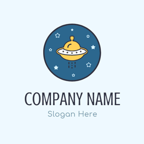 Star Night and Yellow Flying Saucer logo design