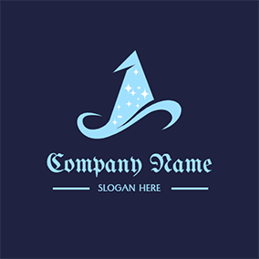 Starry Wizard Hat logo design