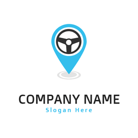 Steering Wheel and Gps Location logo design