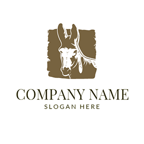 Stone Wall and Donkey Head logo design