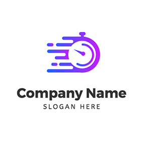 Stopwatch Gradient Line Speed logo design
