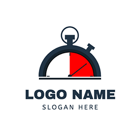 Stopwatch Simple Semicircle logo design