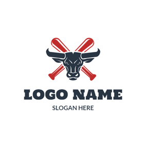 Strict Bull and Crossed Baseball Bat logo design