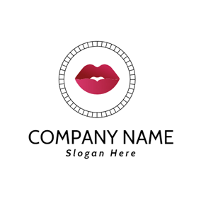 Stripe Circle and Red Lips logo design