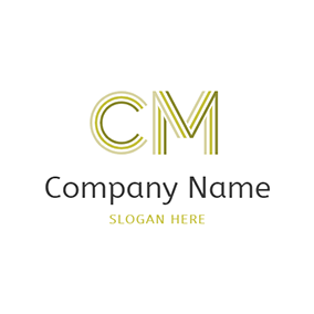 Stripe Simple Letter C M logo design