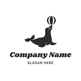 Striped Ball and Black Seal logo design
