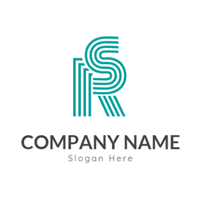 Striped Conjoint Letter R and S logo design