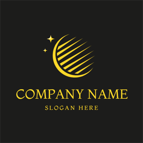 Striped Eclipse and Star Icon logo design