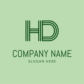 Striped Letter D and H logo design