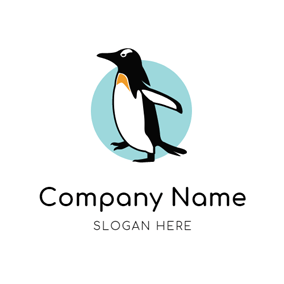 Strong and Clumsy Walking Penguin logo design