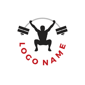 Strong Player and Weightlifting Barbell logo design