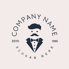 Suit Gentleman Butler logo design